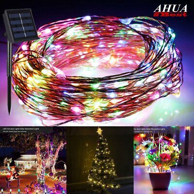 Solar Powered String Lights 100 LED Copper Wire Garden Xmas Party Fairy Lamp