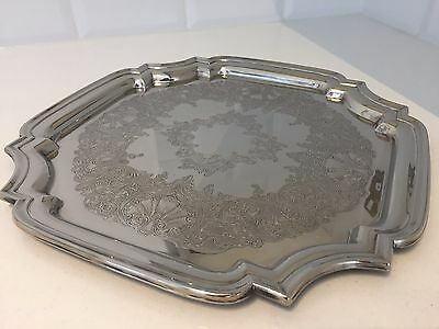 Vintage SILVER PLATED Square Chased SERVING TRAY Drinks Tray 30cm By MR