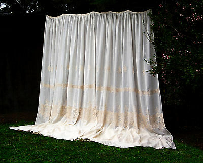 Elegant Shabby French Chic Genuine Vintage European Lace Sheer Curtains X-Long