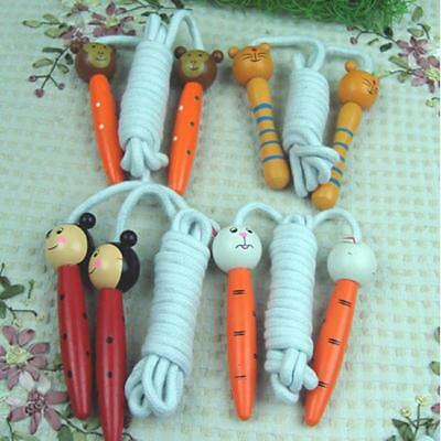 Kids Childrens Skipping Jumping Rope Wooden Handles Animal Kids Excercise Toy B