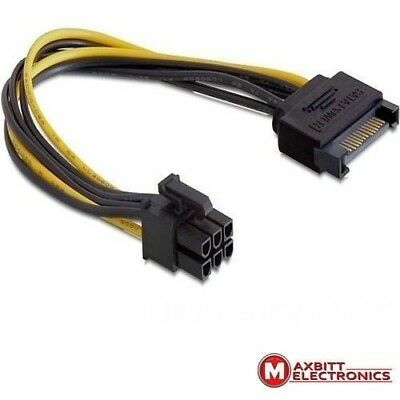 SATA 15pin male to 1 x 6pin PCI female power cable for PCI Express cards 21cm