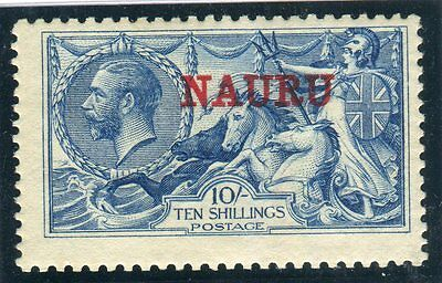 NAURU-1916-23 10/- Deep Bright Blue fine LMM with certificate Sg 23d