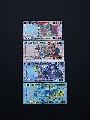 SIERRA LEONE BANKNOTES TOP SET OF FOUR  -  1k, 2k, 5k, 10k   p30-33  MINT UNC