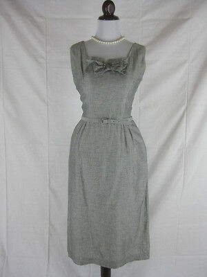 Vtg 50s 60s Grey Womens Vintage Cotton Cocktail Party Dress W 28