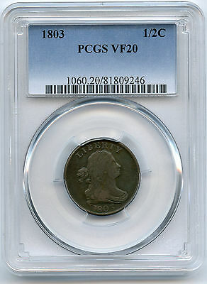 1803 Draped Bust Half Cent PCGS VF 20 Nice Details