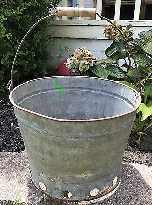Primitive FARMING Galvanized VINTAGE Screen Bottom Bucket