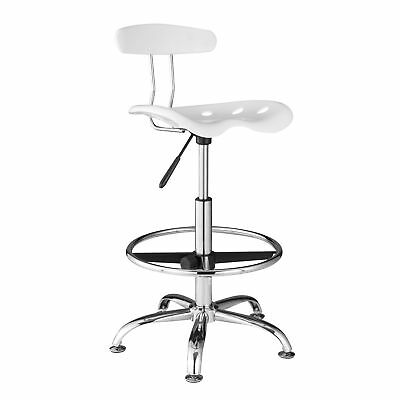 OneSpace Adjustable Drafting Stool with Tractor Seat White