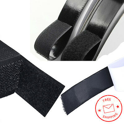 25mm Black Heavy Duty Adhesive Sticky Back Hook & Loop Fastening Tape