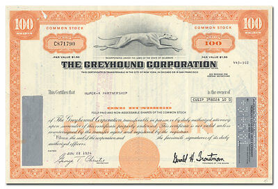 Greyhound Corporation Stock Certificate