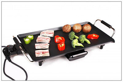 Electric Table Top Teppanyaki Grill BBQ Griddle Hot Plate Healthy Eating Steak