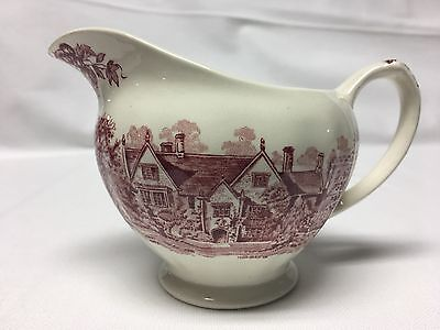 J & G Meakin Romantic England Dorset Creamer Red Scenic Manor Houses