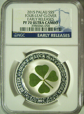 2015 Palau $5 Four-Leaf Clover Silver Proof 1 Oz.  NGC PF 70 UC Early Releases