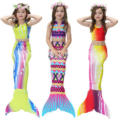Mermaid Tail Swimmable Costume Swimsuit monofin for Women Kids Girls Swimming