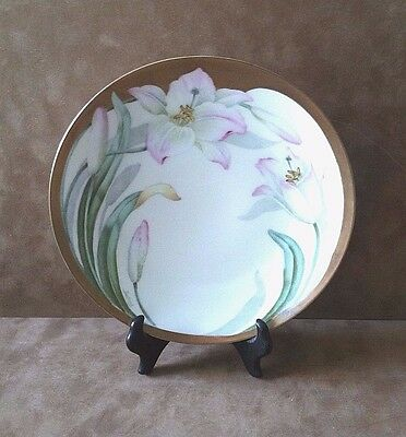 "P. T. TIRSCHENREUTH Bavaria Hand Painted 8 3/8"" Lilies Plate Signed by Doufreux"