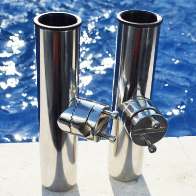 2PCS Stainless Steel Fishing Rod Holder Clamp on Rail 7/8'' to 1'' For Boat Fine