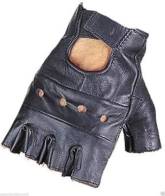 Real Fingerless Leather Gloves Driving Cycling Punk Goth Bus Wheelchair Gym