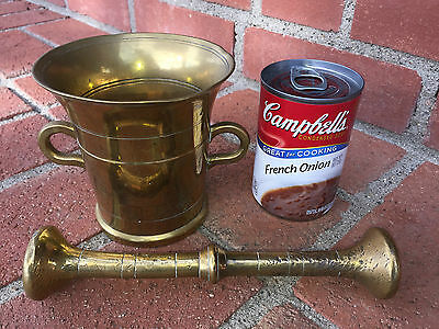 Vintage Brass Mortar and Pestle DANISH Rounded Handles Circular Design 4 LBS
