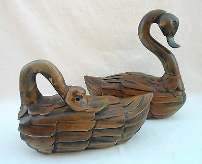 Rare Arthur Court Designs 1980 Set Of 2 Carved Wood Swan Decoys Statues Figures