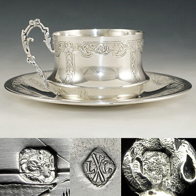Ornate Antique French Sterling Silver Coffee Tea Cup & Saucer Set Louis Coignet