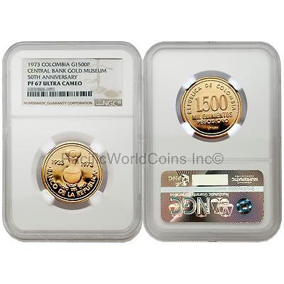 Colombia 1973 Central Bank Gold Museum 50th Anniversary 1500 Pesos Gold NGC PF67