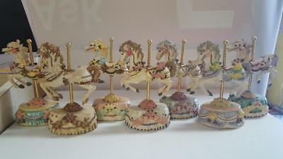 Lot of 7 Melodies County Fair Collection Heritage House Carousel Horse Figurines