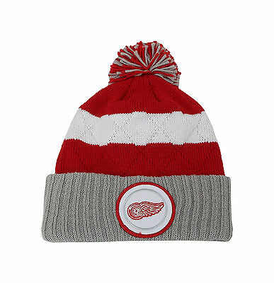 e328a918a07 Mitchell   Ness NHL Beanie Detroit Red Wings Stripped Quilted Crown Pom Knit  Hat