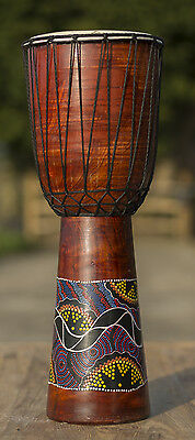 DJEMBE/BONGO /DRUMS,GOAT SKIN.HARD WOOD.FAIRTRADE (60cm tall, painted)
