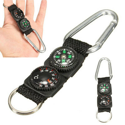 Multifunction Camping Mini Carabiner w/Keychain Compass Thermometer Key 3 in 1