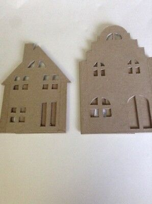 2 x 3D Paper Mache Free Standing Buildings For Decopatch/Kids Crafts