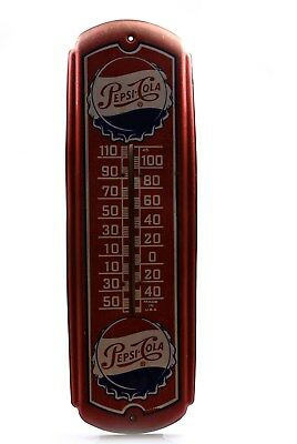 Vintage Red Metal Pepsi Cola Thermometer 27""