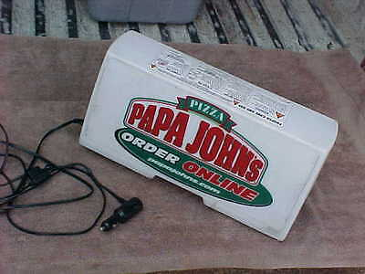 Papa Johns Pizza Delivery Lighted Sign Car Topper, Magnetic, Works! 12 Volt.