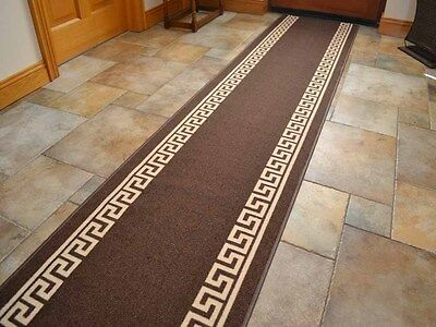 Brown Heavy Duty Non-Slip Rubber Backed Hall Runners Extra Long Narrow Rugs Mats