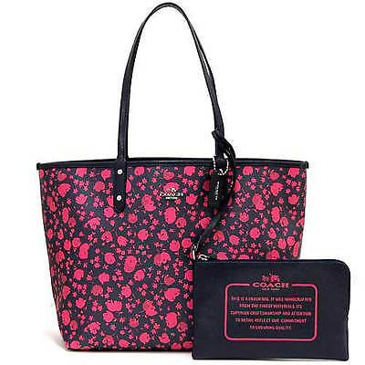 66cf38a89 NWT Coach Prairie Calico Reversible City Tote Handbag Midnight/Pink Ruby F  55862