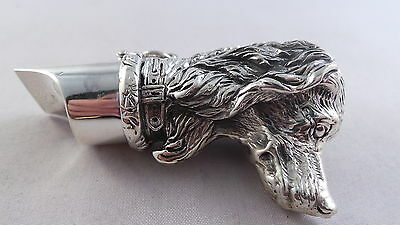 Superb Top Quality Sterling Silver Dogs Head Vesta Case / Pill Box And Whistle