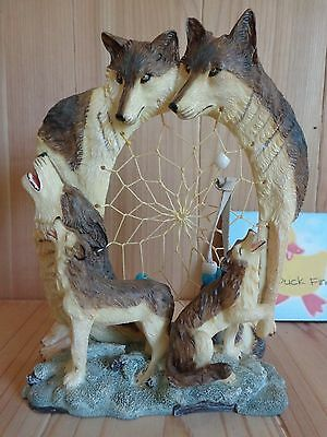 "WOLF FIGURINE with Dream Catcher 7"" Howling Watching Resin"