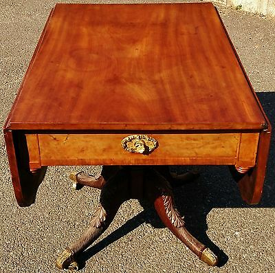 Large Antique ENGLISH 19th C Mahogany DROP LEAF Carved Base Sofa Center TABLE