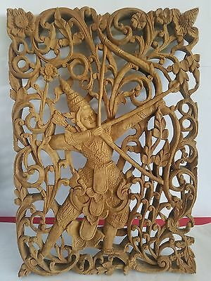 Vintage Wood Carving Women Shooting Arrow 1 Solid Piece Amazing Work!