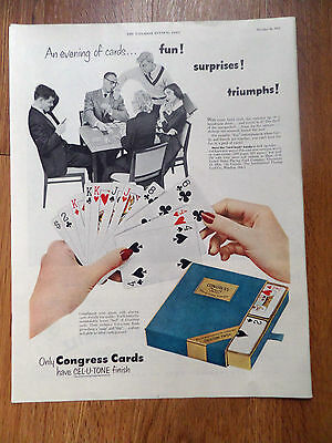 1951 Congress Playing Cards Ad  An Evening of Cards Fun Surprises Triumphs!