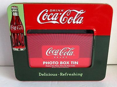 """Coca Cola Photo Box Tin Picture Frame Lid For 4x6"""" Delicious Refreshing 2004 8"""""""