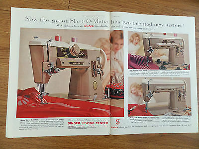 1959 Vintage Singer Sewing Machine Ad Slant-O-Matic, Special & Slant Deluxe
