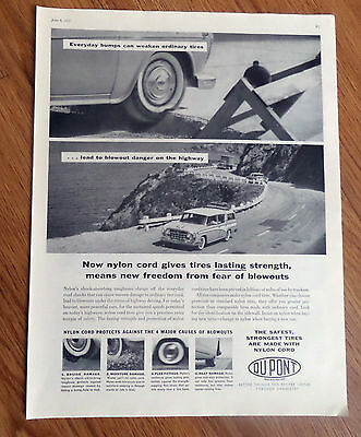 1957 DuPont Nylon Tire Ad  Rambler Cross Country Wagon