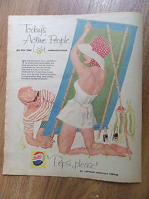 1958 Pepsi Cola Soda Ad  Couple at Beach for a Picnic Swimsuits Active People