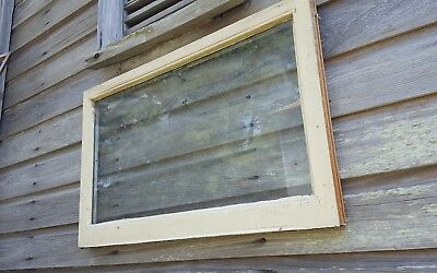 VINTAGE SASH ANTIQUE WOOD WINDOW  FRAME PINTEREST 31x19 ONE PANE DOUBLE PANE