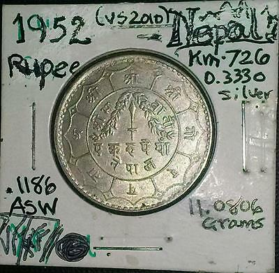 1952 Nepal Silver Rupee Coin - (Vs Date 2010) Vf/xf+ Condition