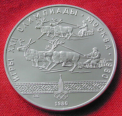 1980 Moscow Olympics silver 10 rouble coin - reindeer racing
