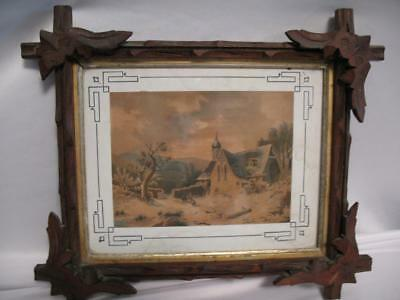 "Folk Art Antique Primitive Wood Tramp Art 12"" Tall Wooden Hand Carved Frame"