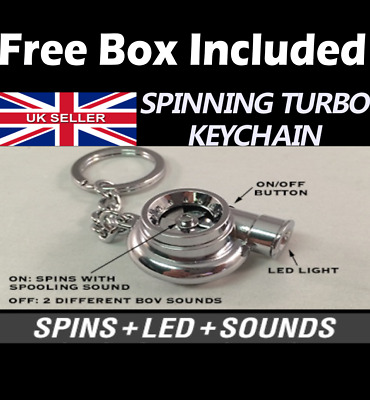 Turbo Charger Boost Spinning Fan Anodized Key Chain Keyring Spin, LED, Sound