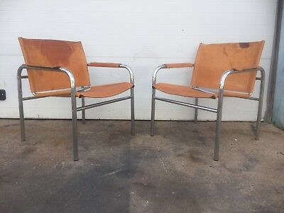 Distressed Leather And Chrome Vintage Sling Chairs Mid Century Modern