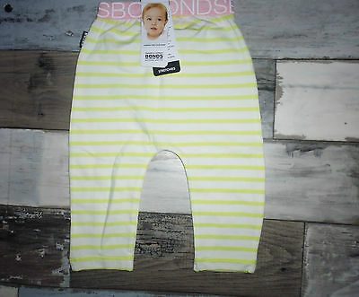Bonds Baby Stretchies  Leggins   Size 00 Lime stripe with pink band