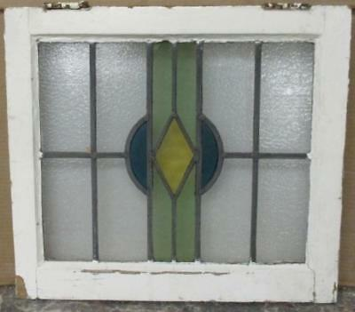 """OLD ENGLISH LEADED STAINED GLASS WINDOW Pretty Geometric 19.75"""" x 17.75"""""""